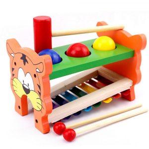 2 i 1 träpinne xylofonutbildning musikinstrument för barn