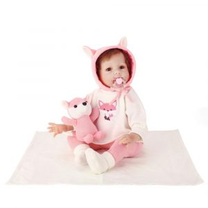 NPK 55CM Silicone Full Girl Body Reborn Docka Real Life Princess Baby Docka Med Sounder