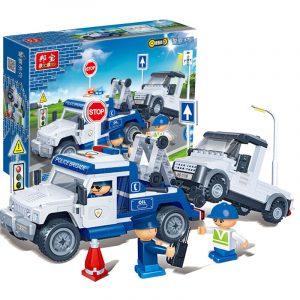 polis- trailer- dra tillbaka- bilblock- leksaker- tegel- Modell- leksak-8345-k ompatibel- Med-le-go