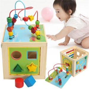 5 i 1 Barn Multifunktions  Färgglada träaktivitet  Pussel  Kub Pärla Leksaker