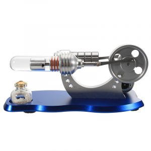 Blå Mini Hot Air Stirling Motor Motor Modell Pedagogiska Toy Kit med LED Light