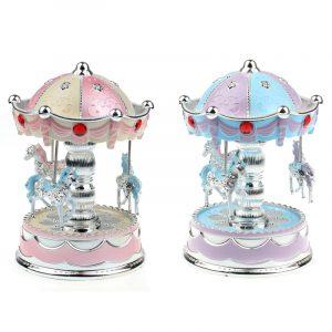 Merry-Go-Round karusellmusiklåda med ljus för presentpyntleksaker