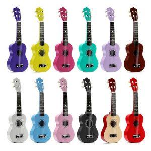 21 tums akustisk sopran 4-sträng Mini Basswood Gittar Musical Instrument Leksaker