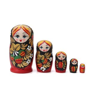 5st / Set Wooden Docka Matryoshka Nesting Russian Babushka Toy Present Decor Collection
