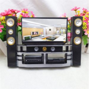 Hi-Fi TV Skåp Set Combo För Barbie Dockhus Furniture Living Room Dockhus Decoration