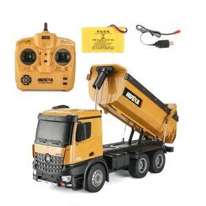 Radiostyrd RC Bil,HuiNa 1573 RC Bil 1/14 Lastbilar Metal Bulldozer Laddning RTR Truck Byggfordon Barn Leksaker