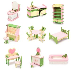 Trä Möbler Set Dockhus Miniatyrrum Tillbehör Barn Pretend Spela Toy Present Decor