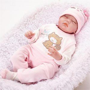 "22 ""Lifelike Newborn Silicone Vinyl Reborn Girl Baby Docka Handgjorda Reborn Dockas"