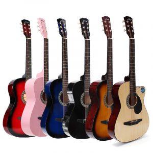 38 tums trägitarrgitarr 6 färggitarr med väska för nybörjare