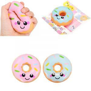 Sanqi Elan 10cm Squishy Kawaii Leende ansikte Donuts Charm Bröd Barn Leksaker Med Förpackning