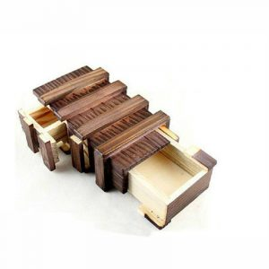 Antik Vintage Wooden Storage Hidden Magic Present låda Brain Teaser Puzzle Bröst Toy