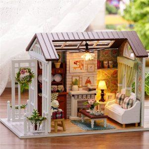 Cuteroom Forest Times Kit Wood Dockhus Miniatyr DIY Hus Hantverk Leksaks Idé Present Glad tider