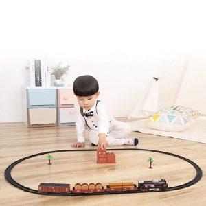 Classic Track Electric Train Set Leksaker Julklapp Riktigt Rök och Ljud Leksaker