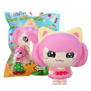 SquishyFun Pink Little Girl Squishy Hängande Dekoration 12cm Cute Docka Present Collection Packaging