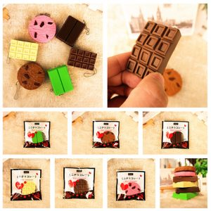 Squishy Crack Choklad Bar Biscuit Cracker 5.5x1x6cm Ljud Med Packaging Collection Present Decor Toy