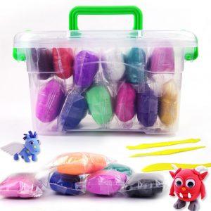 12st Paper Clay Modeling Clay Light DIY Mjuk Creative Handgum Plasticine Leksaker Leksaker Med låda