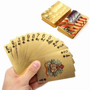 Guld Plastbelagda Spellkort Poker Spel USA National Flag Style