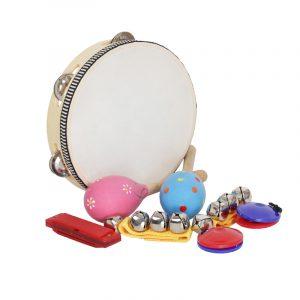 IRIN Orff Musical Instruments Satser Band Rhythm Tambourine Harmonica Castanets Handbells Sand Hammer