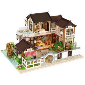 DIY Dockhus Miniatyr Doll Möbler Kit LED Barn Katt Födelsedag Xmas Present House