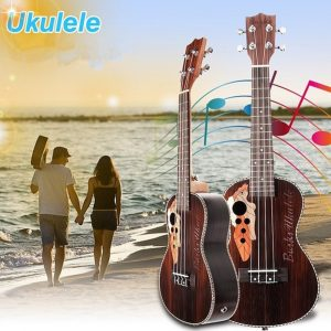 21 tums fyra strängar Rosewood Ukulele Guitar With Grape Shape Holes