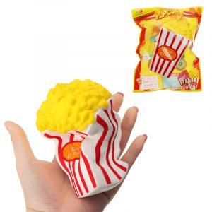 Sunny Popcorn Squishy 15cm långsammare med förpackning Cute Jumbo Soft Squeeze Strap Scented Toy