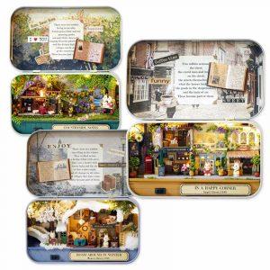 Cuteroom Old Times Trilogy DIY låda Teater dockhus Miniatyr Tenn låda Med LED Decor