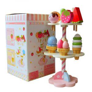 Nytt trä barn leksaker lekhus jordgubbsrätter gåvor 1 set