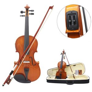 Astonvilla 4/4 Solid Electroacoustic Violin med pickupväska och tillbehör