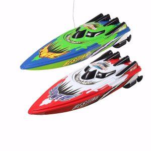 Röd grön plasthållbar fjärrkontroll Twin Motor High Speed Racing RC båtleksak