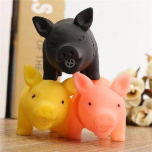 Gummi Pet Dog Puppy Pig Shape Chew Hämta Spela Toy Squeaker Piggy Med Ljud Nyhet Leksaker