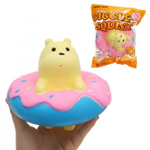 Giggle Donut Bear Squishy 13,5 * 6 * 15cm långsammare med Packaging Collection Present Soft Toy