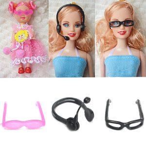Dockhus Doll Mode Tillbehör Mikrofon Glasögon Girl Toy