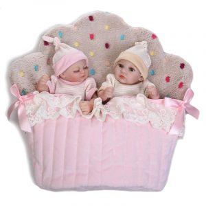 NPK 26cm Söt Rosa Twin Baby Girl och Boy Full Soft Silicone Reborn Docka Simulation Reborn Leksaker