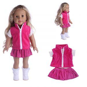 Docka Klänning Klänning T-Shirt Kjol Kostyme För 18 tums American Girl Without Reborn Baby Docka