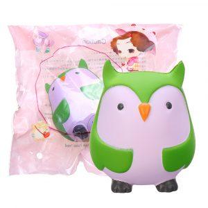 9cm Soft Squishy Blue Owl Scented långsam stigande leksak med förpackningsstressrelief