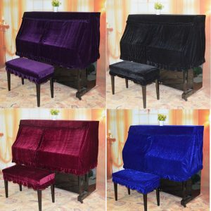 4 Färger Piano Halvtäcke Elegant Pleuche Protector + Dubbla Piano Stool Cover