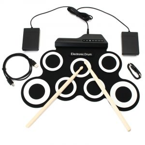 Digital Portable Roll Up Electronic Drum Kit Pad med Pedal Drum Sticks