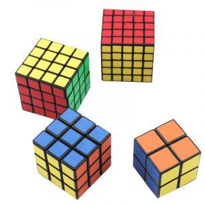 4st Classic Magic Cube Leksaker Set 2x2x2 och 3x3x3 4x4x4 och 5x5x5 PVC-klistermärke Block Puzzle Speed Cube