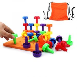 30st Peg Board Set Montessori Yrkesmässig Fine Motor Toy för Toddlers Pegboard