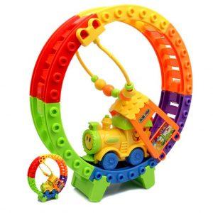 Järnvägsleksaker Leksaker Småbana Monterade Pussel DIY Barn Elektriska Leksaker Utomhus Strandleksaker