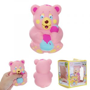 Xinda Squishy Jordgubbe Bear Holding Honey Pot Pink Slow Rising med Packaging Collection Present Toy