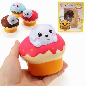 Xinda Squishy Dog Puppy Puff Cake 10cm långsammare med Packaging Collection Present Soft Toy
