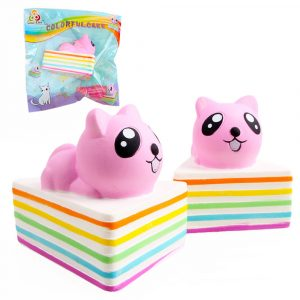 Sanqi Elan Triangle Rainbow Cat Squishy 13 * 10 * 10,5 cm Licensierad Slow Rising Med Packaging Collection Present
