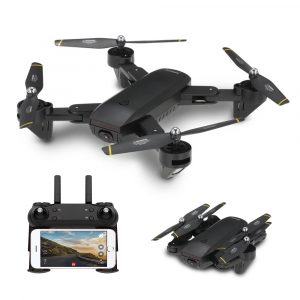 Radiostyrd Fällbar RC FPV Drönare, WIFI, Dual 2MP Kamera & Optisk Flödeshöjd Holdläge  Quadcopter