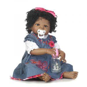 22inch 57cm NPK Silikon Bomull Kropp Curly Hair Baby Reborn Black Dockas Leende Bebe Reborn Babies