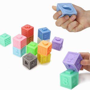6/12 st Baby Grasp Rubber Squeeze Toy Utvecklingsmodell Byggande Leksaker med låda Packing