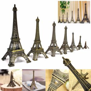 Brons Tone Paris Eiffeltornet Figur Staty Vintage Model Decor Alloy 4 storlekar