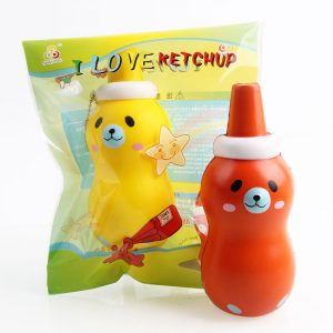 Sanqi Elan ketchup Squishy 14 * 5,5 cm Licensierad Slow Rising med Packaging Collection Present Soft Toy
