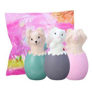 13cm Squishy Kanin Kanin Ägg Med Fancy Bag Julklapp Squeeze Toy