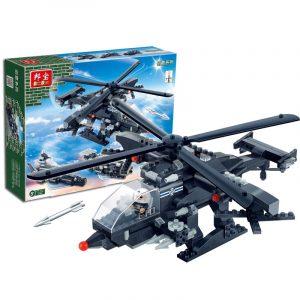 3 i 1 Militärbyggnadsblock, Armébilar Helikopterfartyg & Vapensklister Leksaker
